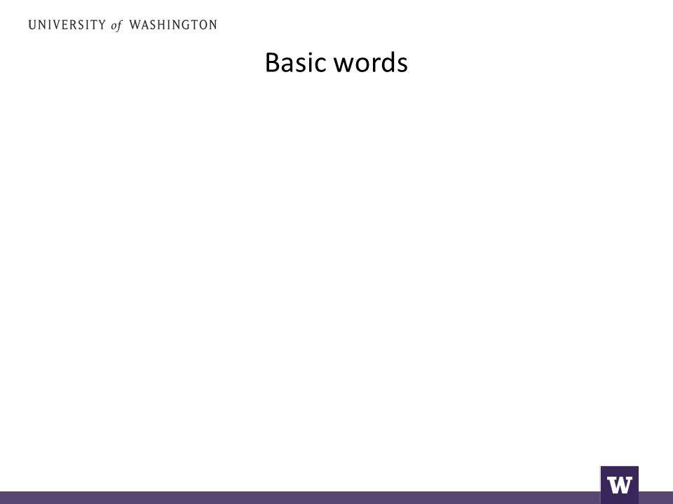 Basic words I want