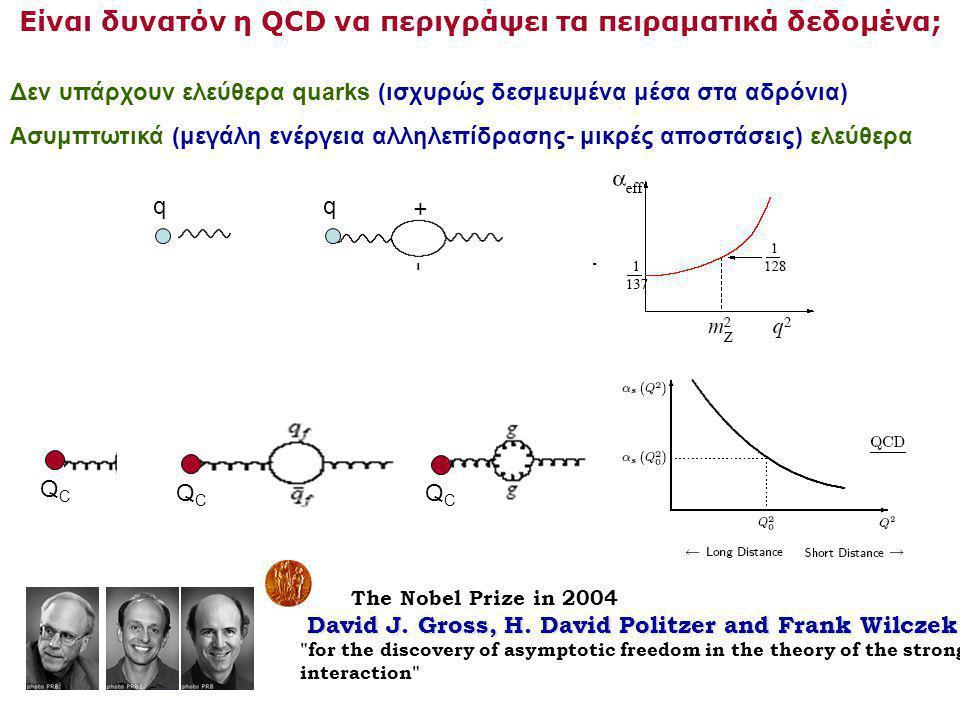 Είναι δυνατόν η QCD να περιγράψει τα πειραματικά δεδομένα; Δεν υπάρχουν ελεύθερα quarks (ισχυρώς δεσμευμένα μέσα στα αδρόνια) Ασυμπτωτικά (μεγάλη ενέργεια αλληλεπίδρασης- μικρές αποστάσεις) ελεύθερα The Nobel Prize in 2004 David J.