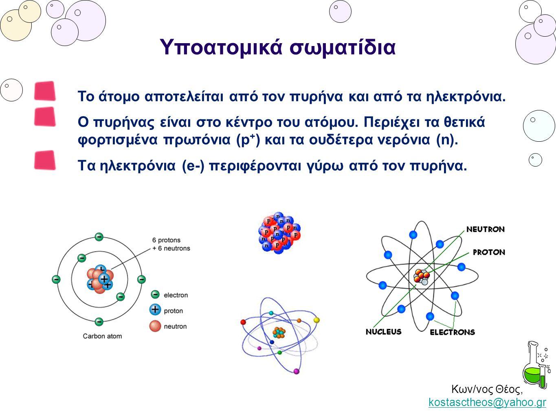 Κων/νος Θέος, kostasctheos@yahoo.gr kostasctheos@yahoo.gr Υποατομικά σωματίδια Το άτομο αποτελείται από τον πυρήνα και από τα ηλεκτρόνια. Ο πυρήνας εί