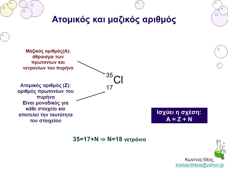 Κων/νος Θέος, kostasctheos@yahoo.gr kostasctheos@yahoo.gr Ατομικός και μαζικός αριθμός 35 Cl 17 Μαζικός αριθμός(Α): άθροισμα των πρωτονίων και νετρονί