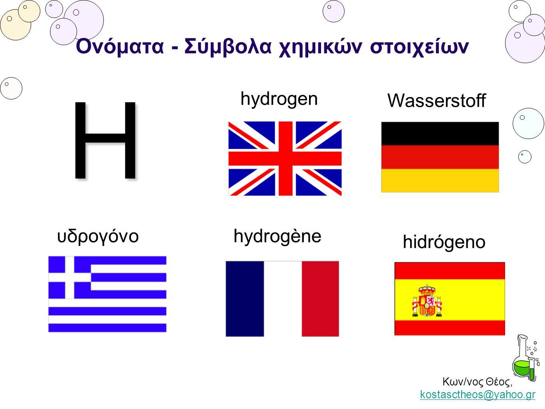 Κων/νος Θέος, kostasctheos@yahoo.gr kostasctheos@yahoo.gr Ονόματα - Σύμβολα χημικών στοιχείων H υδρογόνο hydrogen hydrogène Wasserstoff hidrógeno