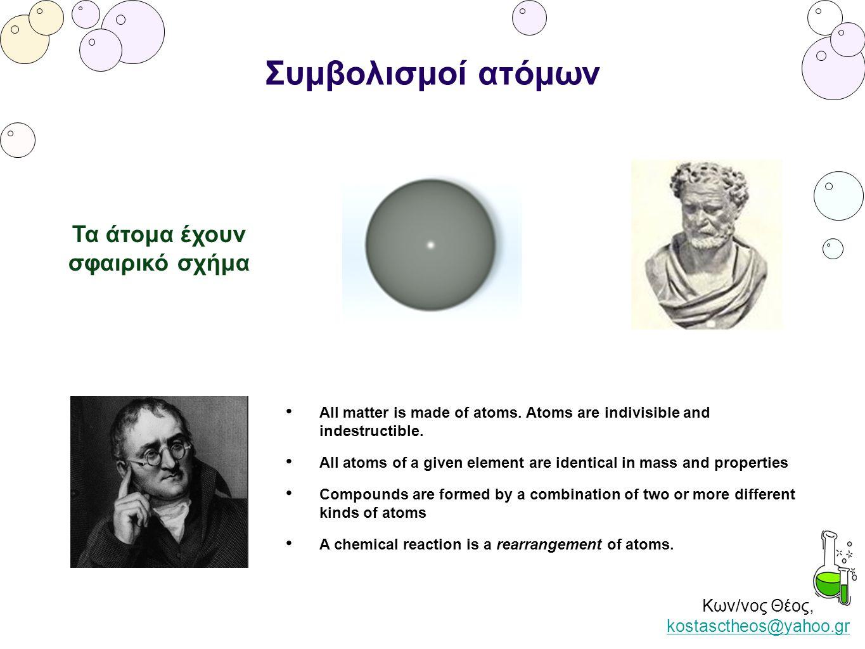 Κων/νος Θέος, kostasctheos@yahoo.gr kostasctheos@yahoo.gr Συμβολισμοί ατόμων Τα άτομα έχουν σφαιρικό σχήμα All matter is made of atoms. Atoms are indi