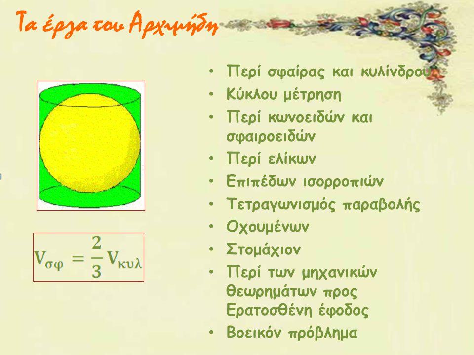 Τα έργα του Αρχιμήδη Περί σφαίρας και κυλίνδρου Κύκλου μέτρηση Περί κωνοειδών και σφαιροειδών Περί ελίκων Επιπέδων ισορροπιών Τετραγωνισμός παραβολής