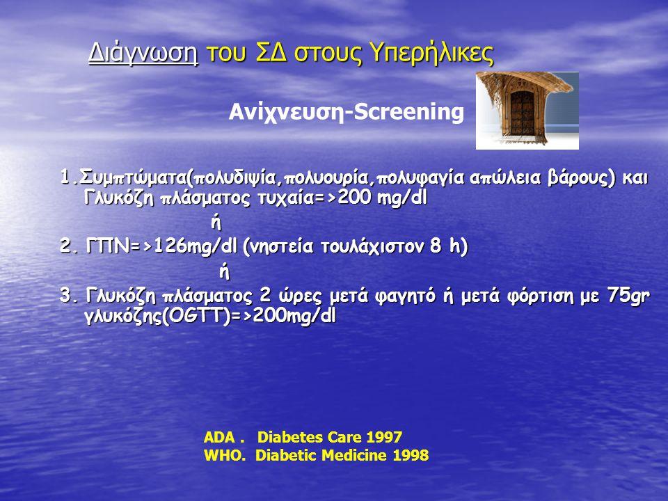 1.Συμπτώματα(πολυδιψία,πολυουρία,πολυφαγία απώλεια βάρους) και Γλυκόζη πλάσματος τυχαία=>200 mg/dl ή 2. ΓΠΝ=>126mg/dl (νηστεία τουλάχιστον 8 h) ή ή 3.