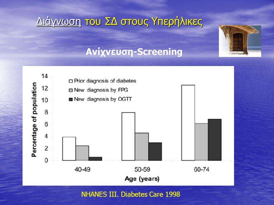 Διάγνωση του ΣΔ στους Υπερήλικες Διάγνωση του ΣΔ στους Υπερήλικες Ανίχνευση-Screening NHANES III. Diabetes Care 1998