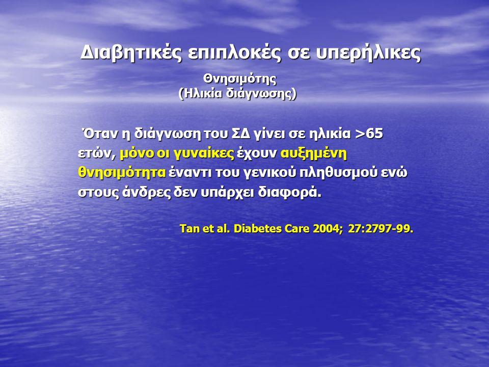 Διαβητικές επιπλοκές σε υπερήλικες Διαβητικές επιπλοκές σε υπερήλικες Όταν η διάγνωση του ΣΔ γίνει σε ηλικία >65 Όταν η διάγνωση του ΣΔ γίνει σε ηλικί