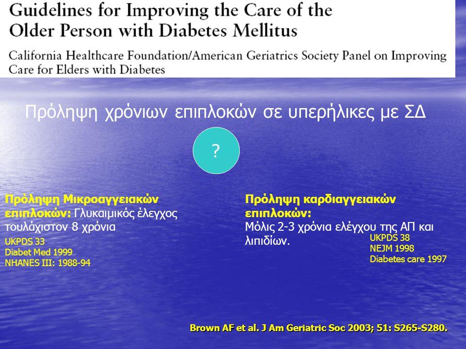 Brown AF et al. J Am Geriatric Soc 2003; 51: S265-S280. Πρόληψη χρόνιων επιπλοκών σε υπερήλικες με ΣΔ Πρόληψη Μικροαγγειακών επιπλοκών: Γλυκαιμικός έλ
