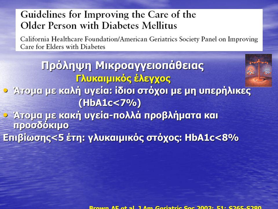 Πρόληψη Μικροαγγειοπάθειας Πρόληψη Μικροαγγειοπάθειας Γλυκαιμικός έλεγχος Γλυκαιμικός έλεγχος Άτομα με καλή υγεία: ίδιοι στόχοι με μη υπερήλικες Άτομα