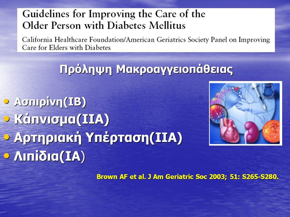 Πρόληψη Μακροαγγειοπάθειας Πρόληψη Μακροαγγειοπάθειας Ασπιρίνη(ΙΒ) Ασπιρίνη(ΙΒ) Κάπνισμα(ΙΙΑ) Κάπνισμα(ΙΙΑ) Αρτηριακή Υπέρταση(ΙΙΑ) Αρτηριακή Υπέρταση