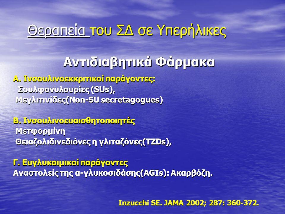 Αντιδιαβητικά Φάρμακα Αντιδιαβητικά Φάρμακα Α. Ινσουλινοεκκριτικοί παράγοντες: Σουλφονυλουρίες (SUs), Σουλφονυλουρίες (SUs), Μεγλιτινίδες(Non-SU secre