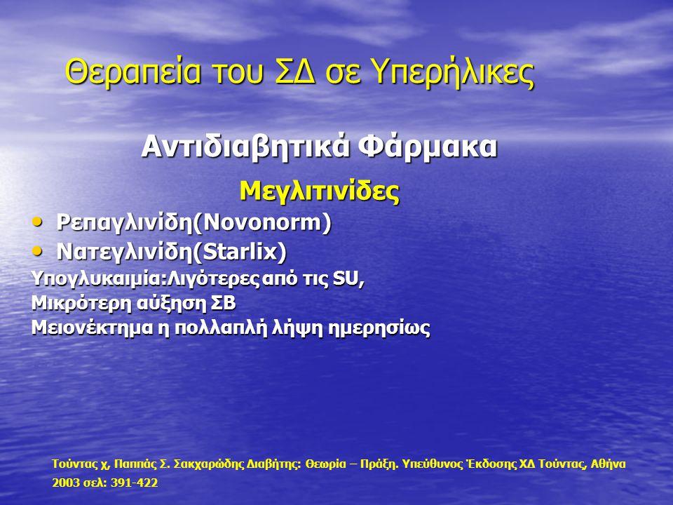 Αντιδιαβητικά Φάρμακα Αντιδιαβητικά Φάρμακα Μεγλιτινίδες Μεγλιτινίδες Ρεπαγλινίδη(Novonorm) Ρεπαγλινίδη(Novonorm) Νατεγλινίδη(Starlix) Νατεγλινίδη(Sta