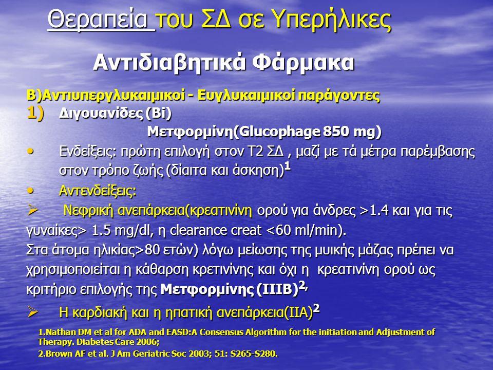 Αντιδιαβητικά Φάρμακα Αντιδιαβητικά Φάρμακα Β)Αντιυπεργλυκαιμικοί - Ευγλυκαιμικοί παράγοντες 1) Διγουανίδες (Bi) Μετφορμίνη(Glucophage 850 mg) Μετφορμ