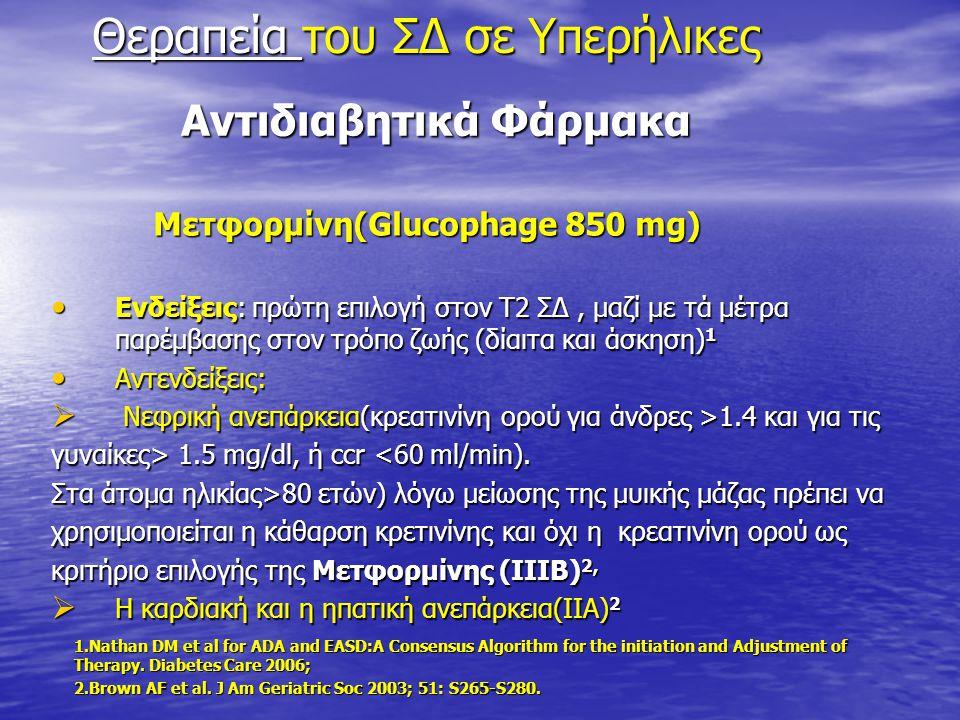 Αντιδιαβητικά Φάρμακα Αντιδιαβητικά Φάρμακα Μετφορμίνη(Glucophage 850 mg) Μετφορμίνη(Glucophage 850 mg) Ενδείξεις: πρώτη επιλογή στον Τ2 ΣΔ, μαζί με τ