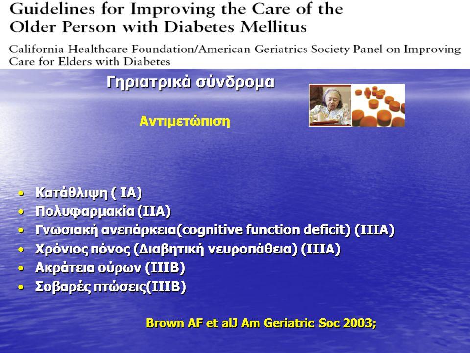 Κατάθλιψη ( IA)Κατάθλιψη ( IA) Πολυφαρμακία (IIA)Πολυφαρμακία (IIA) Γνωσιακή ανεπάρκεια(cognitive function deficit) (IIIA)Γνωσιακή ανεπάρκεια(cognitiv