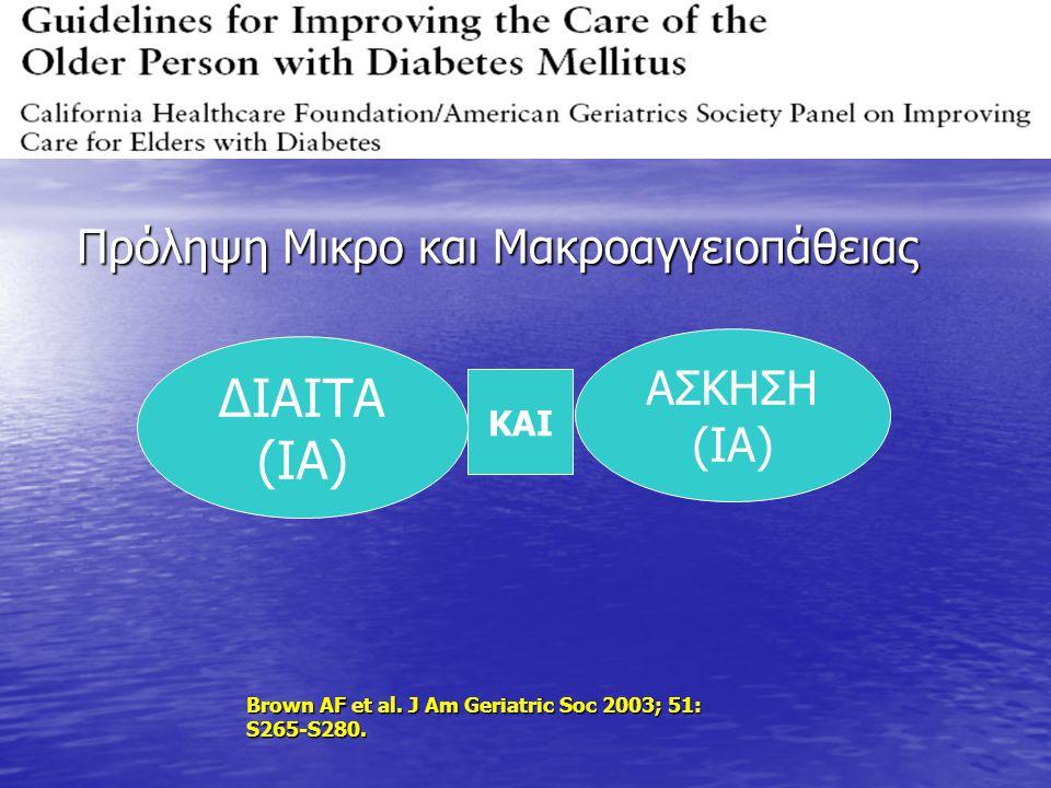 Πρόληψη Μικρο και Μακροαγγειοπάθειας Πρόληψη Μικρο και Μακροαγγειοπάθειας ΔΙΑΙΤΑ (ΙΑ) ΑΣΚΗΣΗ (ΙΑ) Brown AF et al. J Am Geriatric Soc 2003; 51: S265-S2