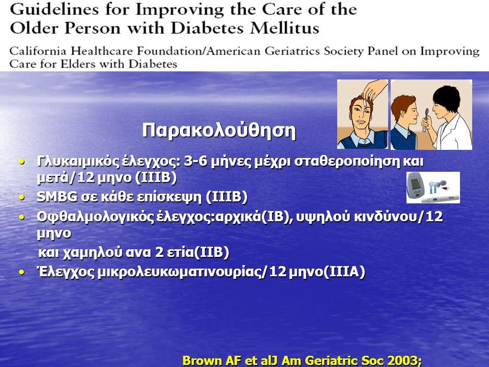 Γλυκαιμικός έλεγχος: 3-6 μήνες μέχρι σταθεροποίηση και μετά/12 μηνο (IIIB)Γλυκαιμικός έλεγχος: 3-6 μήνες μέχρι σταθεροποίηση και μετά/12 μηνο (IIIB) S