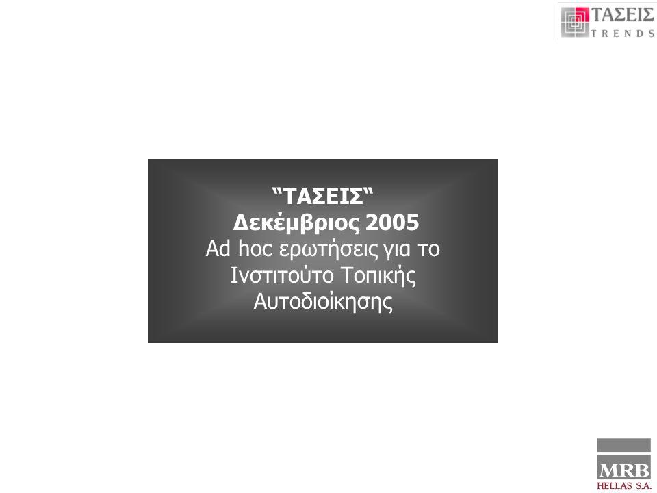 ΤΑΣΕΙΣ- ΔΕΚΕΜΒΡΙΟΣ 2005 Συλλογή Στοιχείων 24 Νοεμβρίου – 5 Δεκεμβρίου 2004 ΑD HOC ΕΡΩΤΗΣΕΙΣ ΓΙΑ ΤΟ ΙΝΣΤΙΤΟΥΤΟ ΤΟΠΙΚΗΣ ΑΥΤΟΔΙΟΙΚΗΣΗΣ 1 ΤΑΣΕΙΣ Δεκέμβριος 2005 Αd hoc ερωτήσεις για το Ινστιτούτο Τοπικής Αυτοδιοίκησης