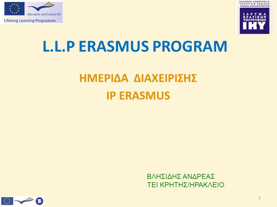 1 L.L.P ERASMUS PROGRAM ΗΜΕΡΙΔΑ ΔΙΑΧΕΙΡΙΣΗΣ IP ERASMUS ΒΛΗΣΙΔΗΣ ΑΝΔΡΕΑΣ ΤΕΙ ΚΡΗΤΗΣ/ΗΡΑΚΛΕΙΟ