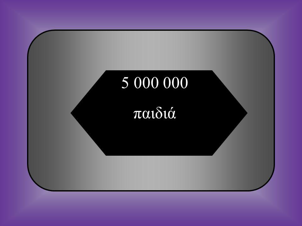 A:B: 5 000 000 παιδιά1 000 000 παιδιά Ερώτηση 15 Πόσα παιδιά κάτω των πέντε ετών πεθαίνουν κάθε χρόνο παγκοσμίως λόγω υποσιτισμού; C:D: 100 000 παιδιά500 000 παιδιά