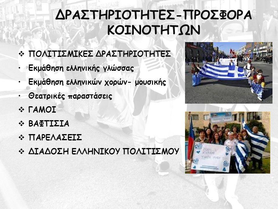 ΔΡΑΣΤΗΡΙΟΤΗΤΕΣ-ΠΡΟΣΦΟΡΑ ΚΟΙΝΟΤΗΤΩΝ  ΠΟΛΙΤΙΣΜΙΚΕΣ ΔΡΑΣΤΗΡΙΟΤΗΤΕΣ Εκμάθηση ελληνικής γλώσσας Εκμάθηση ελληνικών χορών- μουσικής Θεατρικές παραστάσεις 