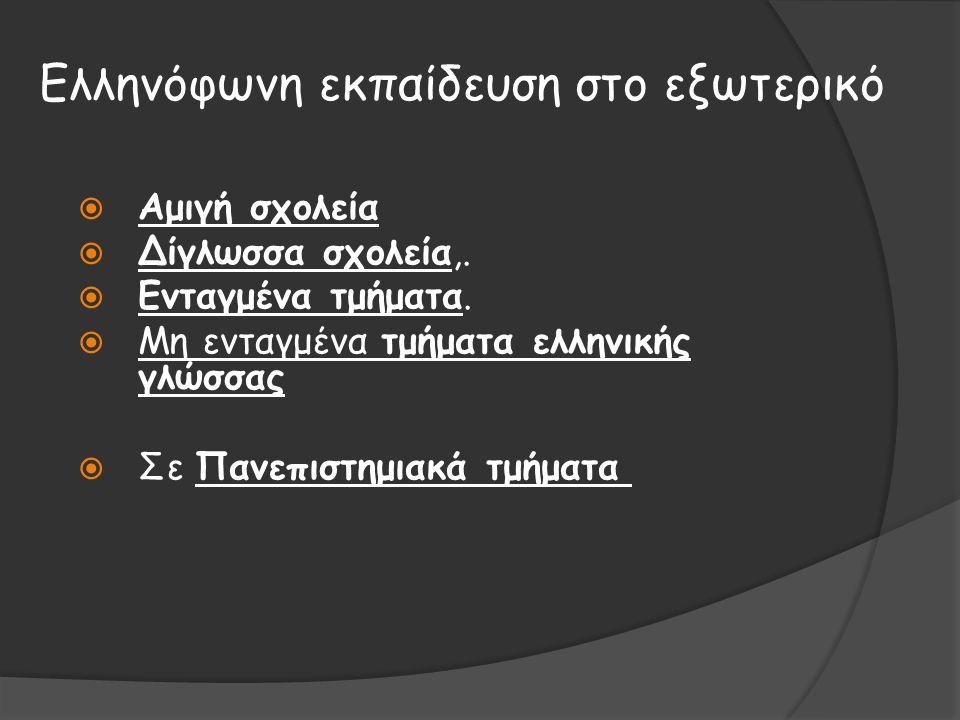 Ελληνόφωνη εκπαίδευση στο εξωτερικό  Αμιγή σχολεία  Δίγλωσσα σχολεία,.  Ενταγμένα τμήματα.  Μη ενταγμένα τμήματα ελληνικής γλώσσας  Σε Πανεπιστημ