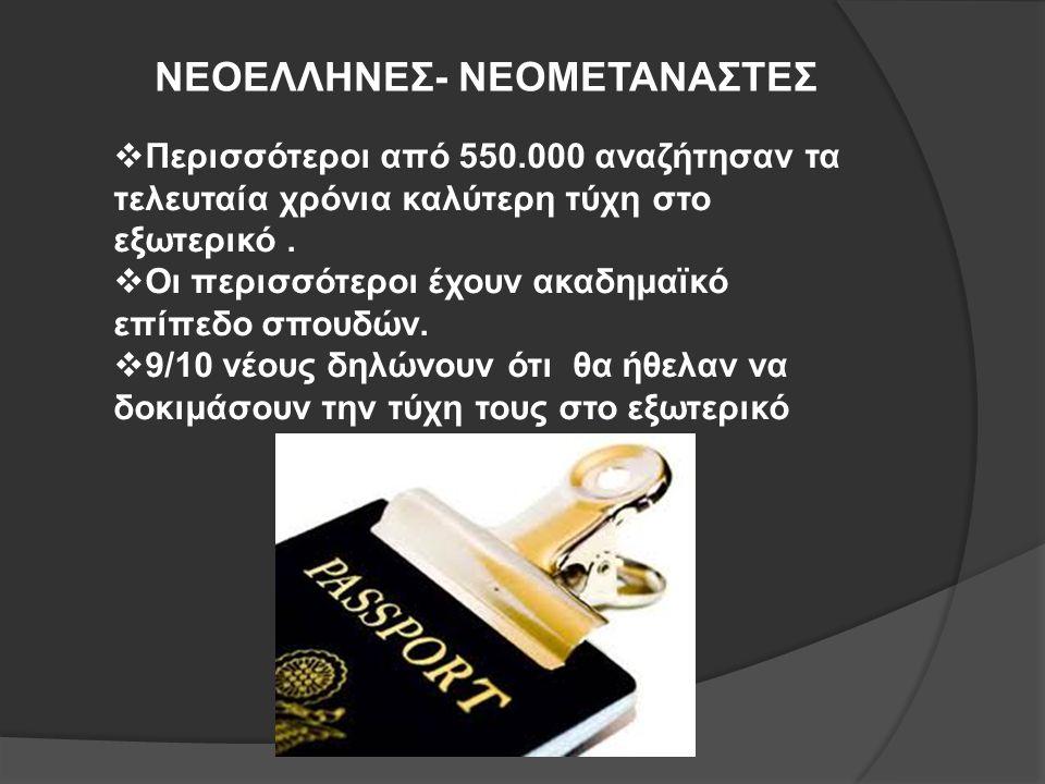 ΝΕΟΕΛΛΗΝΕΣ- ΝΕΟΜΕΤΑΝΑΣΤΕΣ  Περισσότεροι από 550.000 αναζήτησαν τα τελευταία χρόνια καλύτερη τύχη στο εξωτερικό.