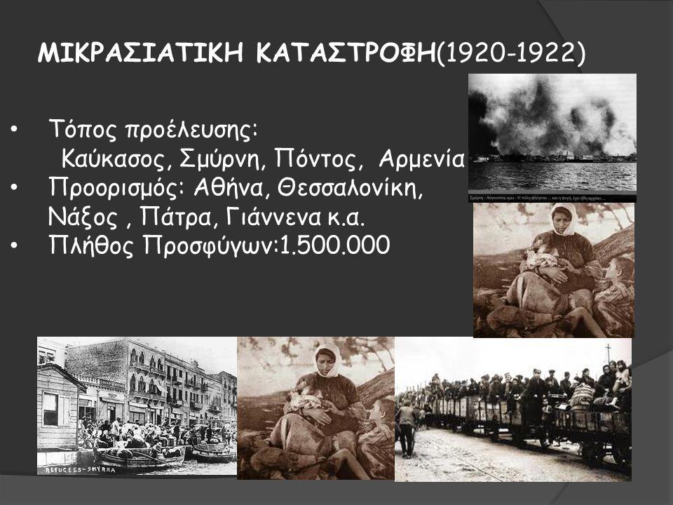 ΜΙΚΡΑΣΙΑΤΙΚΗ ΚΑΤΑΣΤΡΟΦΗ(1920-1922) Τόπος προέλευσης: Καύκασος, Σμύρνη, Πόντος, Αρμενία Προορισμός: Αθήνα, Θεσσαλονίκη, Νάξος, Πάτρα, Γιάννενα κ.α. Πλή