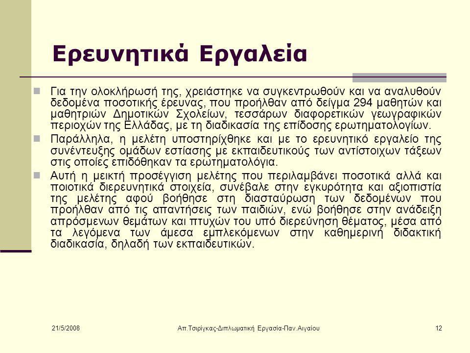 21/5/2008 Απ.Τσιρίγκας-Διπλωματική Εργασία-Παν.Αιγαίου12 Ερευνητικά Εργαλεία Για την ολοκλήρωσή της, χρειάστηκε να συγκεντρωθούν και να αναλυθούν δεδομένα ποσοτικής έρευνας, που προήλθαν από δείγμα 294 μαθητών και μαθητριών Δημοτικών Σχολείων, τεσσάρων διαφορετικών γεωγραφικών περιοχών της Ελλάδας, με τη διαδικασία της επίδοσης ερωτηματολογίων.
