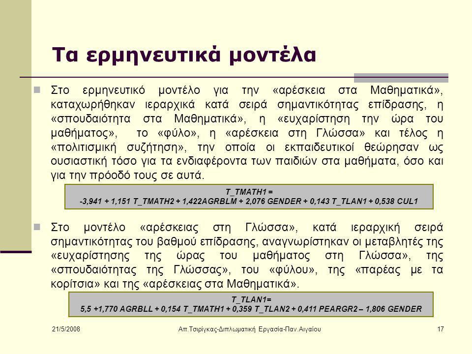 21/5/2008 Απ.Τσιρίγκας-Διπλωματική Εργασία-Παν.Αιγαίου17 Τα ερμηνευτικά μοντέλα Στο ερμηνευτικό μοντέλο για την «αρέσκεια στα Μαθηματικά», καταχωρήθηκαν ιεραρχικά κατά σειρά σημαντικότητας επίδρασης, η «σπουδαιότητα στα Μαθηματικά», η «ευχαρίστηση την ώρα του μαθήματος», το «φύλο», η «αρέσκεια στη Γλώσσα» και τέλος η «πολιτισμική συζήτηση», την οποία οι εκπαιδευτικοί θεώρησαν ως ουσιαστική τόσο για τα ενδιαφέροντα των παιδιών στα μαθήματα, όσο και για την πρόοδό τους σε αυτά.