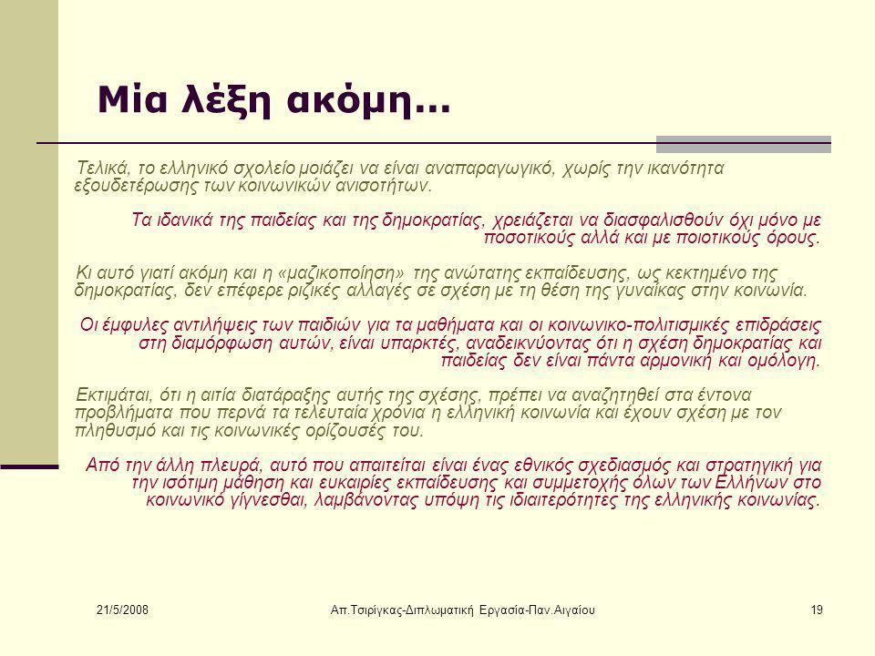 21/5/2008 Απ.Τσιρίγκας-Διπλωματική Εργασία-Παν.Αιγαίου19 Μία λέξη ακόμη...