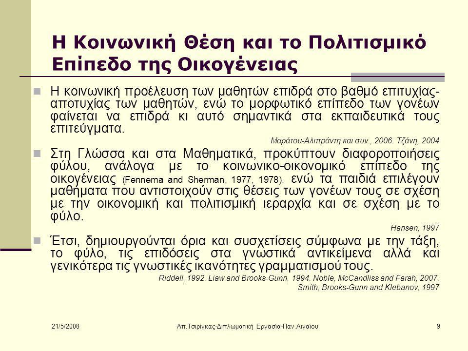 21/5/2008 Απ.Τσιρίγκας-Διπλωματική Εργασία-Παν.Αιγαίου10 Η Υπόθεση της Έρευνας Οι αντιλήψεις (1) των παιδιών της Π.Ε.