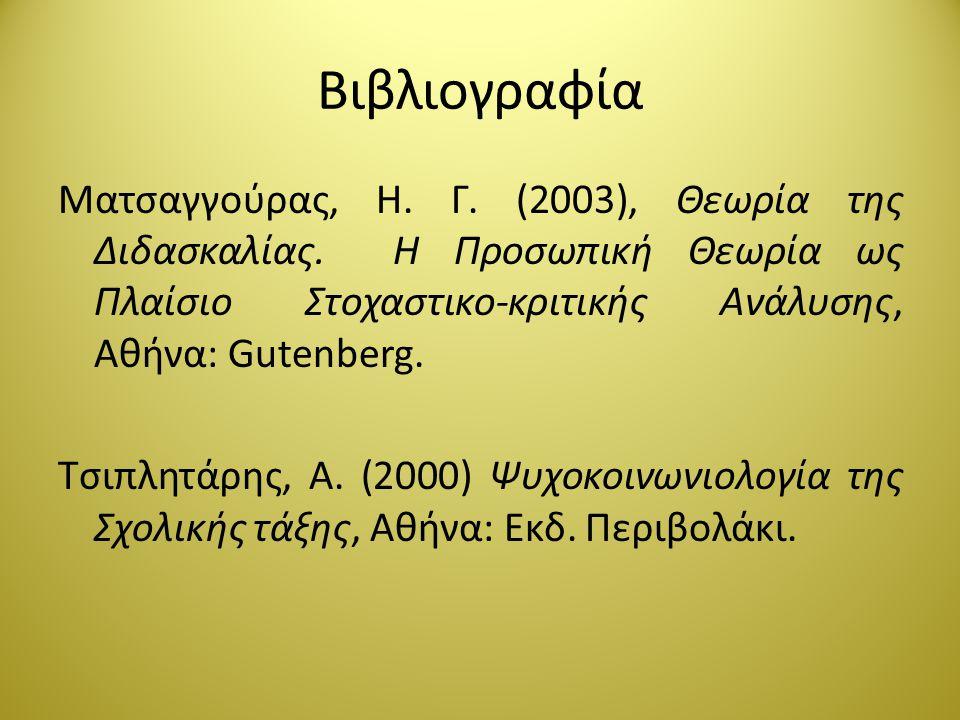 Βιβλιογραφία Ματσαγγούρας, Η. Γ. (2003), Θεωρία της Διδασκαλίας. Η Προσωπική Θεωρία ως Πλαίσιο Στοχαστικο-κριτικής Ανάλυσης, Αθήνα: Gutenberg. Τσιπλητ