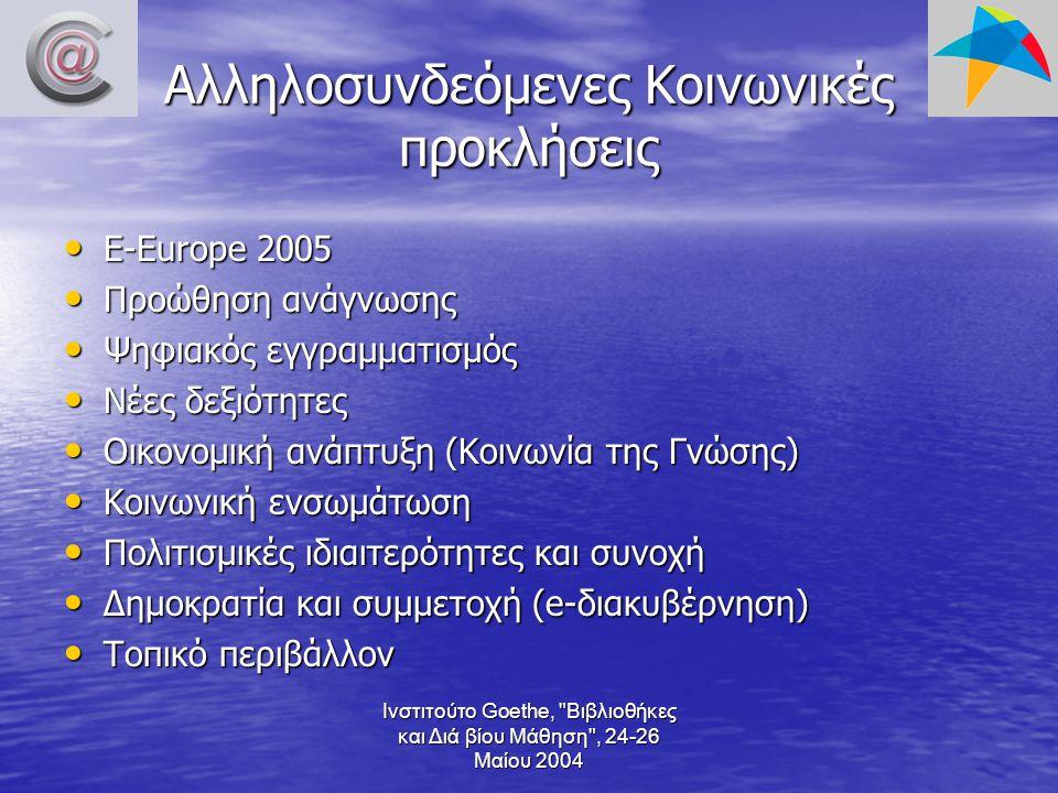 Ινστιτούτο Goethe, Βιβλιοθήκες και Διά βίου Μάθηση , 24-26 Μαίου 2004 Αλληλοσυνδεόμενες Κοινωνικές προκλήσεις E-Europe 2005 E-Europe 2005 Προώθηση ανάγνωσης Προώθηση ανάγνωσης Ψηφιακός εγγραμματισμός Ψηφιακός εγγραμματισμός Νέες δεξιότητες Νέες δεξιότητες Οικονομική ανάπτυξη (Κοινωνία της Γνώσης) Οικονομική ανάπτυξη (Κοινωνία της Γνώσης) Κοινωνική ενσωμάτωση Κοινωνική ενσωμάτωση Πολιτισμικές ιδιαιτερότητες και συνοχή Πολιτισμικές ιδιαιτερότητες και συνοχή Δημοκρατία και συμμετοχή (e-διακυβέρνηση) Δημοκρατία και συμμετοχή (e-διακυβέρνηση) Τοπικό περιβάλλον Τοπικό περιβάλλον