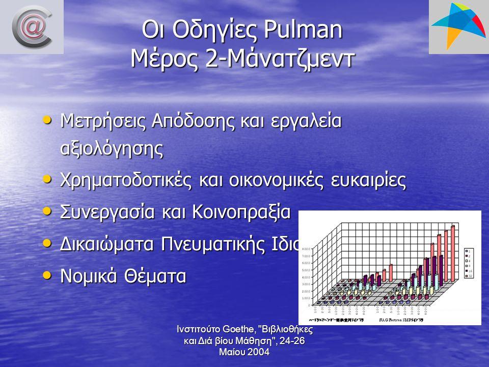 Ινστιτούτο Goethe, Βιβλιοθήκες και Διά βίου Μάθηση , 24-26 Μαίου 2004 Οι Οδηγίες Pulman Μέρος 2-Μάνατζμεντ Μετρήσεις Απόδοσης και εργαλεία αξιολόγησης Μετρήσεις Απόδοσης και εργαλεία αξιολόγησης Χρηματοδοτικές και οικονομικές ευκαιρίες Χρηματοδοτικές και οικονομικές ευκαιρίες Συνεργασία και Κοινοπραξία Συνεργασία και Κοινοπραξία Δικαιώματα Πνευματικής Ιδιοκτησίας Δικαιώματα Πνευματικής Ιδιοκτησίας Νομικά Θέματα Νομικά Θέματα