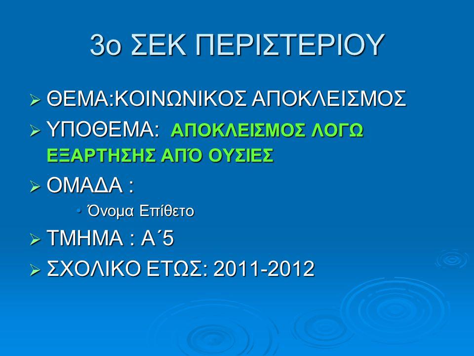 3ο ΣΕΚ ΠΕΡΙΣΤΕΡΙΟΥ  ΘΕΜΑ:ΚΟΙΝΩΝΙΚΟΣ ΑΠΟΚΛΕΙΣΜΟΣ  ΥΠΟΘΕΜΑ: ΑΠΟΚΛΕΙΣΜΟΣ ΛΟΓΩ ΕΞΑΡΤΗΣΗΣ ΑΠΌ ΟΥΣΙΕΣ  ΟΜΑΔΑ : Όνομα ΕπίθετοΌνομα Επίθετο  ΤΜΗΜΑ : Α΄5  ΣΧΟΛΙΚΟ ΕΤΩΣ: 2011-2012