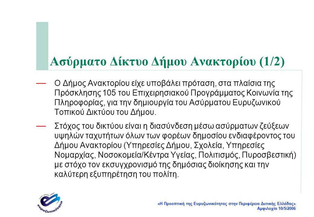 «Η Προοπτική της Ευρυζωνικότητας στην Περιφέρεια Δυτικής Ελλάδας» Αμφιλοχία 10/5/2006 Ασύρματο Δίκτυο Δήμου Ανακτορίου (1/2) — Ο Δήμος Ανακτορίου είχε υποβάλει πρόταση, στα πλαίσια της Πρόσκλησης 105 του Επιχειρησιακού Προγράμματος Κοινωνία της Πληροφορίας, για την δημιουργία του Ασύρματου Ευρυζωνικού Τοπικού Δικτύου του Δήμου.