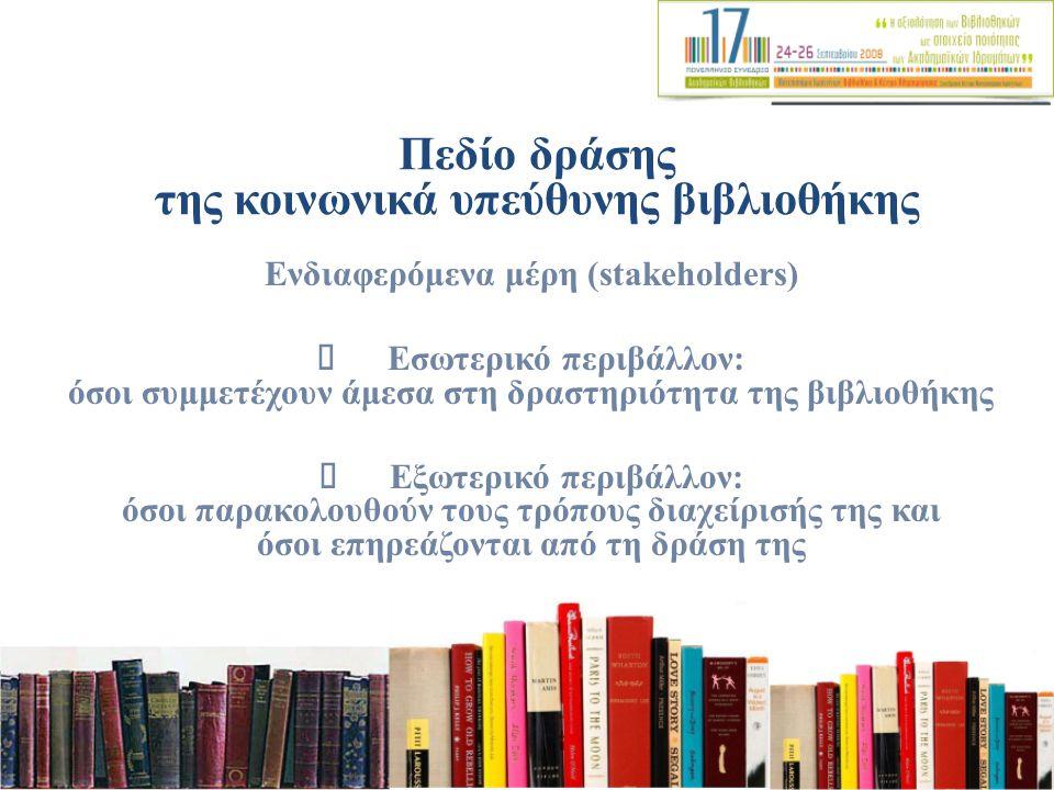 Πεδίο δράσης της κοινωνικά υπεύθυνης βιβλιοθήκης Ενδιαφερόμενα μέρη (stakeholders) Εσωτερικό περιβάλλον: όσοι συμμετέχουν άμεσα στη δραστηριότητα της βιβλιοθήκης Εξωτερικό περιβάλλον: όσοι παρακολουθούν τους τρόπους διαχείρισής της και όσοι επηρεάζονται από τη δράση της
