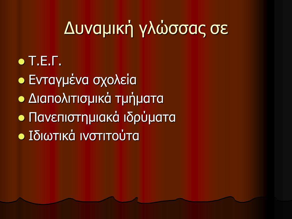 Δυναμική γλώσσας σε Τ.Ε.Γ. Τ.Ε.Γ.