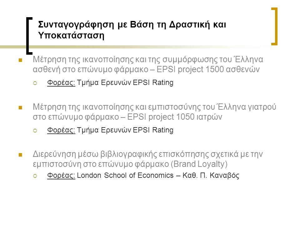 Συνταγογράφηση με Βάση τη Δραστική και Υποκατάσταση Μέτρηση της ικανοποίησης και της συμμόρφωσης του Έλληνα ασθενή στο επώνυμο φάρμακο – EPSI project