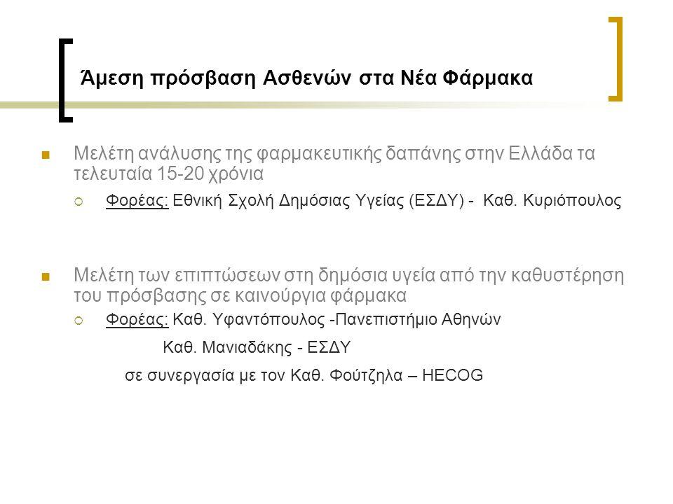 Άμεση πρόσβαση Ασθενών στα Νέα Φάρμακα Μελέτη ανάλυσης της φαρμακευτικής δαπάνης στην Ελλάδα τα τελευταία 15-20 χρόνια  Φορέας: Εθνική Σχολή Δημόσιας