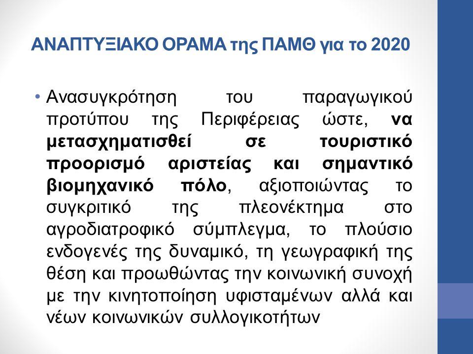 ΑΝΑΠΤΥΞΙΑΚΟ ΟΡΑΜΑ της ΠΑΜΘ για το 2020 Ανασυγκρότηση του παραγωγικού προτύπου της Περιφέρειας ώστε, να μετασχηματισθεί σε τουριστικό προορισμό αριστεί