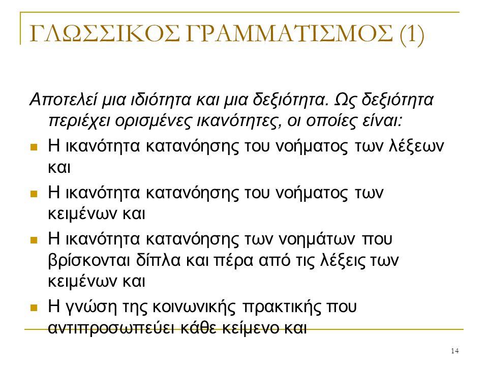 14 ΓΛΩΣΣΙΚΟΣ ΓΡΑΜΜΑΤΙΣΜΟΣ (1) Αποτελεί μια ιδιότητα και μια δεξιότητα. Ως δεξιότητα περιέχει ορισμένες ικανότητες, οι οποίες είναι: Η ικανότητα κατανό
