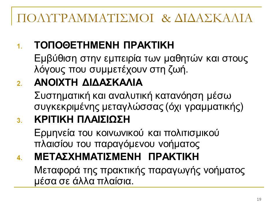 19 ΠΟΛΥΓΡΑΜΜΑΤΙΣΜΟΙ & ΔΙΔΑΣΚΑΛΙΑ 1.