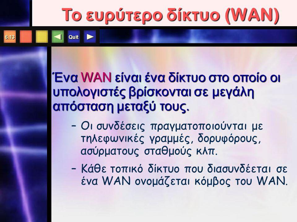 Quit 6.13 Ένα WAN είναι ένα δίκτυο στο οποίο οι υπολογιστές βρίσκονται σε μεγάλη απόσταση μεταξύ τους.