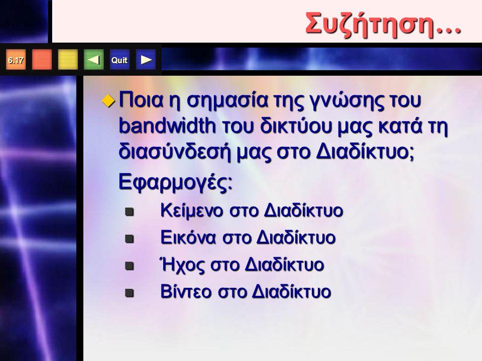 Quit 6.17 Συζήτηση …  Ποια η σημασία της γνώσης του bandwidth του δικτύου μας κατά τη διασύνδεσή μας στο Διαδίκτυο; Εφαρμογές: Εφαρμογές: Κείμενο στο Διαδίκτυο Κείμενο στο Διαδίκτυο Εικόνα στο Διαδίκτυο Εικόνα στο Διαδίκτυο Ήχος στο Διαδίκτυο Ήχος στο Διαδίκτυο Βίντεο στο Διαδίκτυο Βίντεο στο Διαδίκτυο