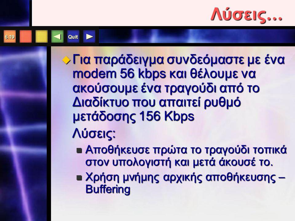 Quit 6.19 Λύσεις …  Για παράδειγμα συνδεόμαστε με ένα modem 56 kbps και θέλουμε να ακούσουμε ένα τραγούδι από το Διαδίκτυο που απαιτεί ρυθμό μετάδοσης 156 Kbps Λύσεις: Λύσεις: Αποθήκευσε πρώτα το τραγούδι τοπικά στον υπολογιστή και μετά άκουσέ το.