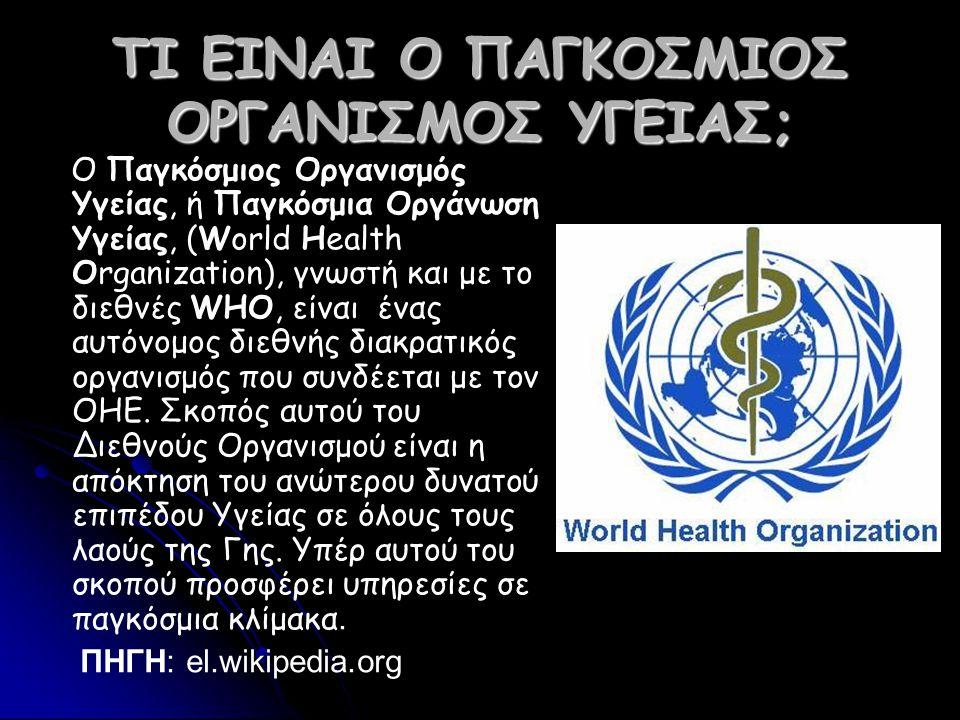 ΤΙ EINAΙ Ο ΠΑΓΚΟΣΜΙΟΣ ΟΡΓΑΝΙΣΜΟΣ ΥΓΕΙΑΣ; Ο Παγκόσμιος Οργανισμός Υγείας, ή Παγκόσμια Οργάνωση Υγείας, (World Health Organization), γνωστή και με το διεθνές WHO, είναι ένας αυτόνομος διεθνής διακρατικός οργανισμός που συνδέεται με τον ΟΗΕ.