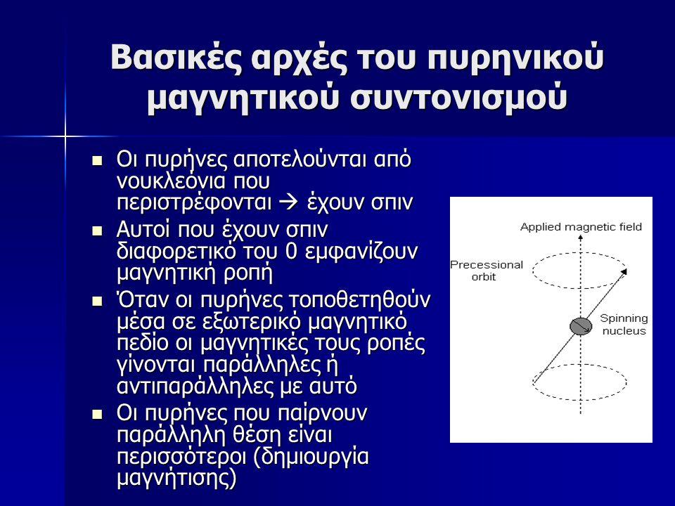 Βασικές αρχές του πυρηνικού μαγνητικού συντονισμού Οι πυρήνες αποτελούνται από νουκλεόνια που περιστρέφονται  έχουν σπιν Οι πυρήνες αποτελούνται από νουκλεόνια που περιστρέφονται  έχουν σπιν Αυτοί που έχουν σπιν διαφορετικό του 0 εμφανίζουν μαγνητική ροπή Αυτοί που έχουν σπιν διαφορετικό του 0 εμφανίζουν μαγνητική ροπή Όταν οι πυρήνες τοποθετηθούν μέσα σε εξωτερικό μαγνητικό πεδίο οι μαγνητικές τους ροπές γίνονται παράλληλες ή αντιπαράλληλες με αυτό Όταν οι πυρήνες τοποθετηθούν μέσα σε εξωτερικό μαγνητικό πεδίο οι μαγνητικές τους ροπές γίνονται παράλληλες ή αντιπαράλληλες με αυτό Οι πυρήνες που παίρνουν παράλληλη θέση είναι περισσότεροι (δημιουργία μαγνήτισης) Οι πυρήνες που παίρνουν παράλληλη θέση είναι περισσότεροι (δημιουργία μαγνήτισης)