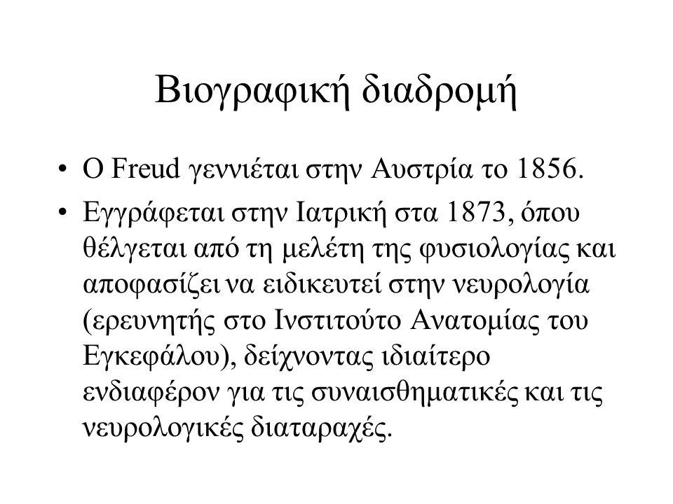 Βιογραφική διαδρομή Ο Freud γεννιέται στην Αυστρία το 1856. Εγγράφεται στην Ιατρική στα 1873, όπου θέλγεται από τη μελέτη της φυσιολογίας και αποφασίζ