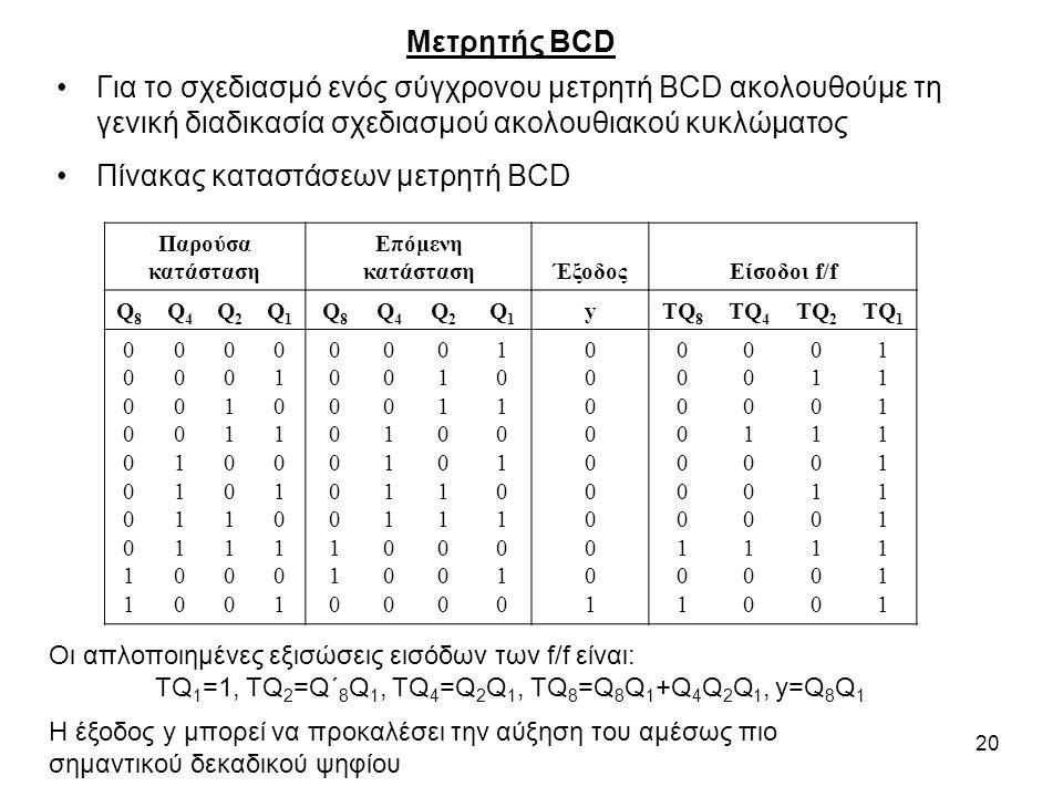 20 Μετρητής BCD Για το σχεδιασμό ενός σύγχρονου μετρητή BCD ακολουθούμε τη γενική διαδικασία σχεδιασμού ακολουθιακού κυκλώματος Πίνακας καταστάσεων με
